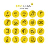 Easy icons 42c Gettng money. Vector thin line flat design icons set for getting money theme Royalty Free Stock Image