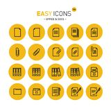 Easy icons 14c Docs. Vector thin line flat design icons set for office and document themes stock illustration