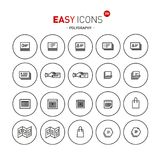 Easy icons 38c Polygraphy. Vector thin line flat design icons set for polygraphy and brochure theme Royalty Free Stock Photography