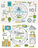 Vector thin line flat design tourism and travel concept bannes Royalty Free Stock Photo