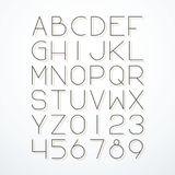 Vector thin line font with shadow. Stock Photography