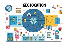 Vector thin line geolocation poster banner template vector illustration