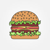 Vector thin line icon  burger. For web design and application in Stock Photo