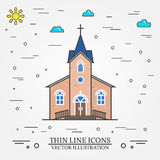 Vector thin line icon church. For web design and application interface, also useful for infographics. Vector illustration Stock Images