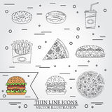Vector thin line icon donuts, pizza, fries, soda, hot dog and hamburger . For web design and application interface, also useful fo Stock Image