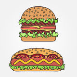 Vector thin line icon  hot dog and burger. For web design and ap Royalty Free Stock Photography