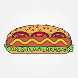 Vector thin line icon  hot dog. For web design and application i Stock Photography