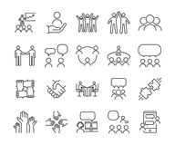 Vector thin line icon illustration set. Teamwork and people interacting, communicating and working together for business companies. Or other nonprofit royalty free illustration