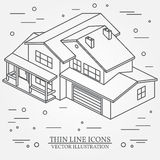 Vector thin line icon isometric suburban american house. For web Royalty Free Stock Images
