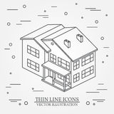 Vector thin line icon isometric suburban american house. For web Royalty Free Stock Photography