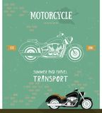 Motorcycle logo in flat and line style. Royalty Free Stock Images