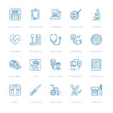 Vector thin line icon of medical equipment, research. Medical check-up, test element - MRI, x-ray, glucometer Stock Images