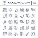 Vector thin line icon of medical equipment, research. Medical check-up, test elements - MRI, xray, glucometer, blood pressure, lab. Oratory. Linear pictogram Royalty Free Stock Photo