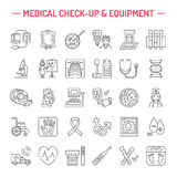 Vector thin line icon of medical equipment, research. Medical check-up, test elements - MRI, xray, glucometer, blood pressure, lab Stock Image