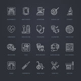 Vector thin line icon of medical equipment, research. Medical check-up, test elements - MRI, xray, glucometer, blood pressure, lab. Oratory. Linear pictogram Royalty Free Stock Images