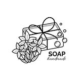 Vector thin line icon of natural organic handmade soap royalty free stock images