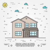 Vector thin line icon  suburban american house. For web design a Royalty Free Stock Photography