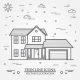 Vector thin line icon  suburban american house. For web design a Stock Image