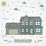 Vector thin line icon  suburban american house. For web design a Stock Photography