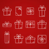 Vector thin line icons of gift boxes. Stock Photography