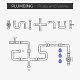 Vector thin line icons of pipes and valves. For plumbing and piping work Stock Photography