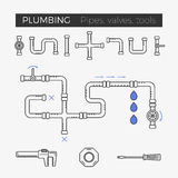 Vector thin line icons of plumbing items. Vector thin line icons of pipes, valves and tools for plumbing and piping work Royalty Free Stock Photos
