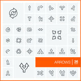 Vector thin line icons set. Arrows Royalty Free Stock Image
