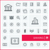Vector thin line icons set. Banking. Illustration in editable EPS and JPG format Royalty Free Stock Photos