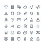 Vector thin line icons set with big data and analytics technology outline symbols Royalty Free Stock Photo