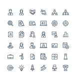 Vector thin line icons set business and management outline symbols. Vector thin line icons set and graphic design elements. Illustration with business and Royalty Free Stock Photo