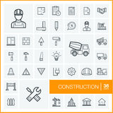 Vector thin line icons set. Construction Royalty Free Stock Images