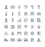 Vector thin line icons set with construction, industrial, architectural, engineering outline symbols stock illustration