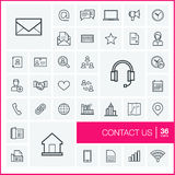 Vector thin line icons set. Contact us Royalty Free Stock Photos