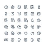 Vector thin line icons set with date and time outline symbols. Vector thin line icons set and graphic design elements. Illustration with date, time outline Stock Images