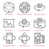 Vector thin line icons set with 360 Degree View and, Panorama tools and applications. Stock Photography