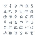 Vector thin line icons set with digital development outline symbols. Vector thin line icons set and graphic design elements. Illustration with digital Royalty Free Stock Image