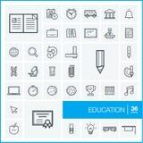 Vector thin line icons set. Education Stock Photo