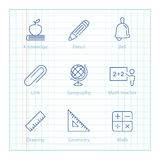 Vector thin line icons set for Education and Science infographic Royalty Free Stock Photos