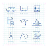 Vector thin line icons set for Education and Science infographic Stock Photos