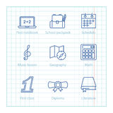 Vector thin line icons set for Education and Science infographic Royalty Free Stock Photography