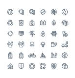 Vector thin line icons set with environmental and ecology outline symbols Royalty Free Stock Images