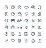 Vector thin line icons set with sport and fitness outline symbols. Royalty Free Stock Images