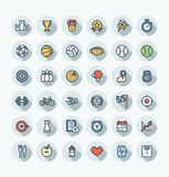 Vector flat color thin line icons set with sport and fitness outline symbols. Stock Images