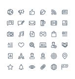 Vector thin line icons set with social media, network outline symbols. Vector thin line icons set and graphic design elements. Social media, network outline Royalty Free Stock Images