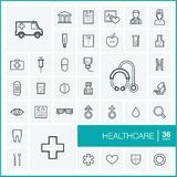 Vector thin line icons set. Healthcare Royalty Free Stock Photo