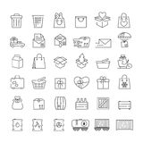 Vector thin line icons set for logistics, delivery and shipping Royalty Free Stock Images