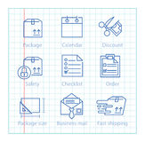 Vector thin line icons set for logistics, shipping and delivery Stock Photo