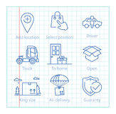 Vector thin line icons set for logistics, shipping and delivery Stock Photography