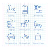 Vector thin line icons set for logistics, shipping and delivery Royalty Free Stock Photo