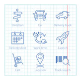 Vector thin line icons set for logistics, shipping and delivery Royalty Free Stock Images